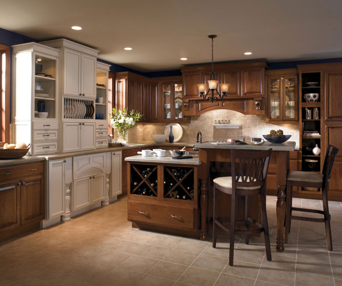 Cherry Cabinets With Two Level Kitchen Island Kemper